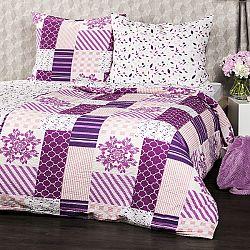 4Home Krepové obliečky Patchwork violet, 160 x 200 cm, 70 x 80 cm