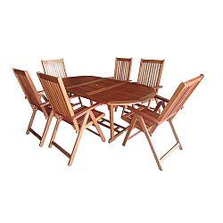 7-dielny set záhradného nábytku Burgis, eukalyptus