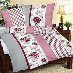 Bellatex Bavlnené obliečky Ruža s kockou, 140 x 200 cm, 70 x 90 cm