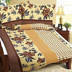Bellatex Flanelové obliečky Hnedá ruža, 140 x 220 cm, 70 x 90 cm