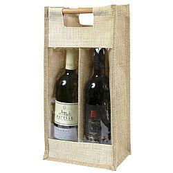 Bellatex Jutová taška na 2 fľaše s priehľadom, 40 x 20 x 13 cm