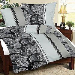 Bellatex Krepové obliečky Špirály sivá, 140 x 200 cm, 70 x 90 cm