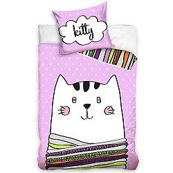 CarboTex Detské bavlnené obliečky Kitty, 140 x 200 cm, 70 x 80 cm