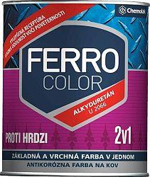 Chemolak FERRO COLOR U 2066 - pololesklá antikorózna farba 2v1 - 1999 - čierna - 0,75 L