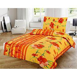 Jahu Bavlnené obliečky Kvetiny oranžová, 140 x 200 cm, 70 x 90 cm