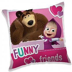 Jerry Fabrics Obliečka na vankúšik Máša a Medvěd Friends, 40 x 40 cm