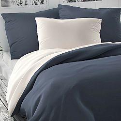 Kvalitex Saténové obliečky Luxury Collection biela/tmavosivá, 140 x 200 cm, 70 x 90 cm