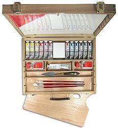 LUKAS Olejové farby STUDIO 12x37ml, drevený kufrík - sada s príslušenstvom - súprava - 444 ml