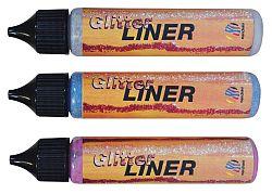 Nerchau Gliter Liner - dekoračné farby s trblietavým efektom  - červená 220312 - 28 ml