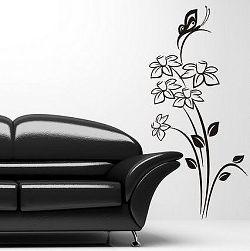 Šablóny na stenu Šablona na stenu - Kvety a motýľ - 3048x - 150 x 69cm