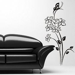 Šablóny na stenu Šablona na stenu - Kvety a motýľ - 3048x - 200 x 92cm