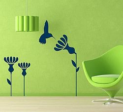 Šablóny na stenu Šablona na stenu - Kvety s kolibríkom - 3070X - 105 x 130cm