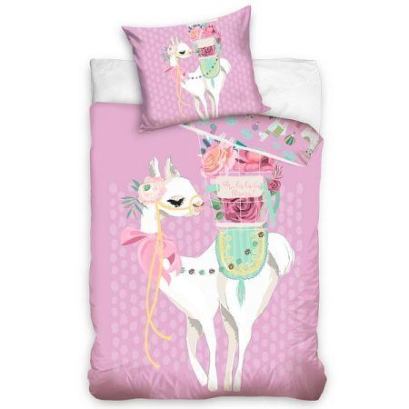 BedTex Bavlnené obliečky Lama Pink, 140 x 200 cm, 70 x 90 cm