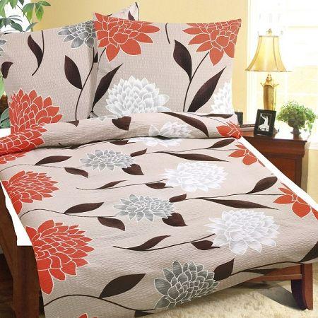 Bellatex Obliečky krep Oranžová jiřina, 140 x 220 cm, 70 x 90 cm
