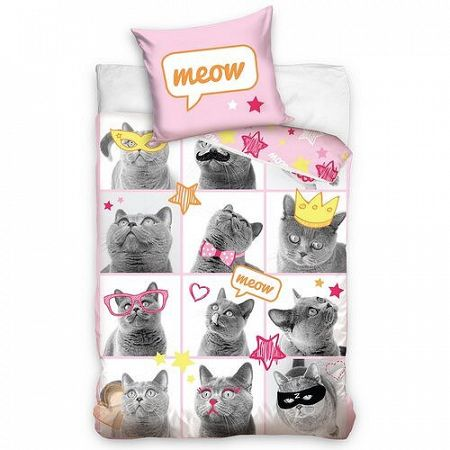 Carbotesx Bavlnené obliečky Mačky Modelky, 140 x 200 cm, 70 x 80 cm