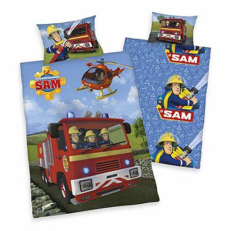 Herding Detské bavlnené obliečky Požiarnik Sam v akcii, 140 x 200 cm, 70 x 90 cm